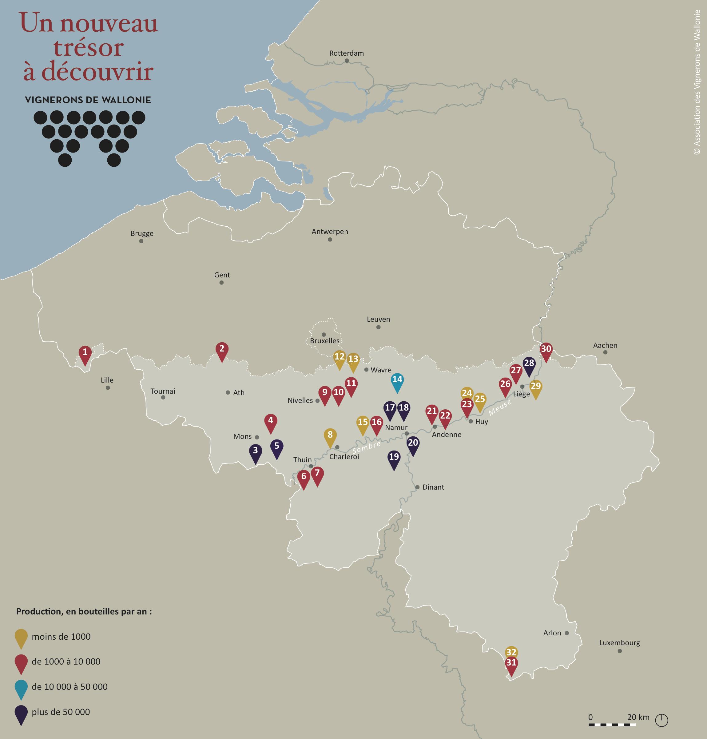 Carte des vignerons de Wallonie