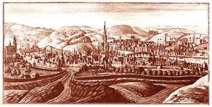 Remacle Le Loup - 1740 - eau-forte représentant la ville de Huy